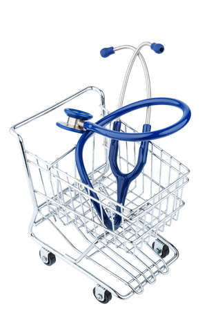 physican: stethoscope and shopping cart, symbol photo for the medical profession and practice acquisition