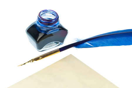 notieren: a blue feather pen with an ink bottle on white background