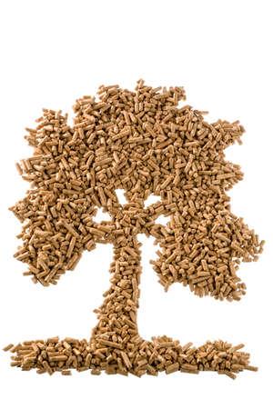 Symbol Foto-Baum von Pellets für Heizung und Wärme aus alternativen, erneuerbaren Energiequellen.