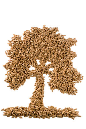 symbol photo tree of pellets for heating and heat from alternative, renewable energy sources. photo