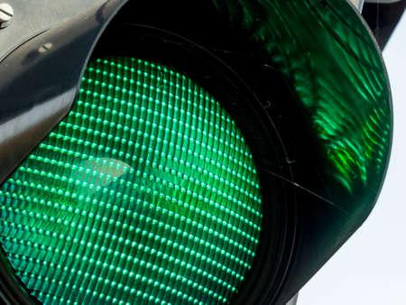 a traffic light road traffic shows green light. photo