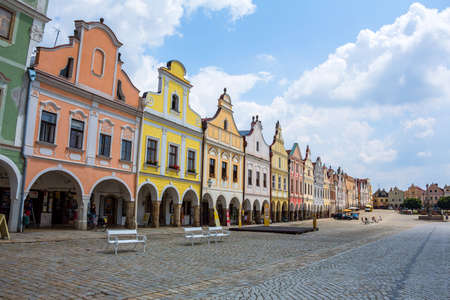 czechia: the historic town square of telc in the czech republic.  Editorial