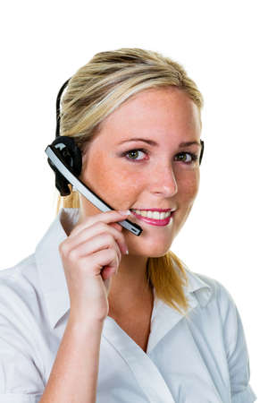 young woman with headset phone in the office in order acceptance  hotline and customer service