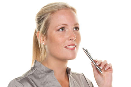 a pensive young woman with a pen  entrepreneurship and business idea photo