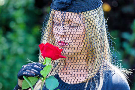 the inheritance: a young, grieving widow with veil and rose  death and inheritance  Stock Photo