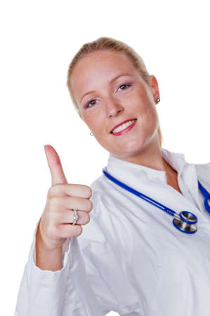 physicans: a young doctor with stethoscope in her doctor s office  Stock Photo