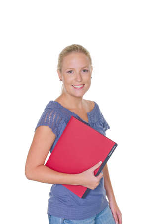 a young woman is waiting with a personal record in her hand on her interview  isolated white background