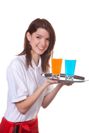 peoplesoft: young woman as a waitress serves drinks on a tray Stock Photo