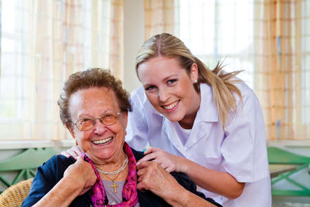 outpatient: a nurse home care visits a patient