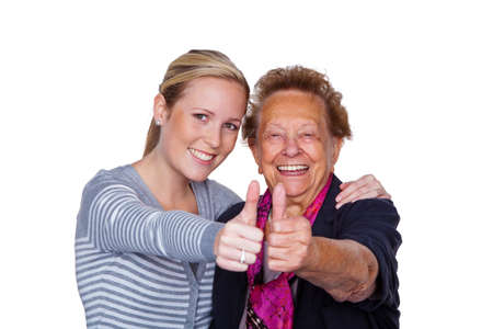 a grandson visited his grandmother  laughter and joy  thumbs up Stock Photo