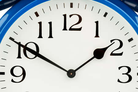 arouse: a blue alarm clock on white background  a wake white dial