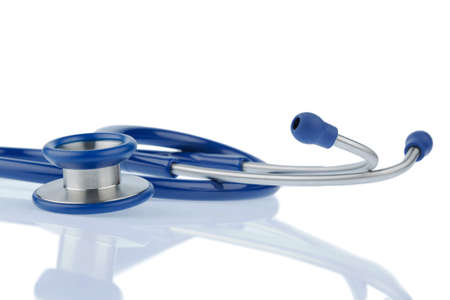 physicans: stethoscope against white background, symbol for professional medical profession and diagnostics