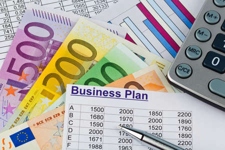 a business plan for starting a business  ideas and strategies for self-employment  euro banknotes and calculator