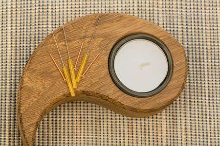 naturopaths: several needle for acupuncture are adjacent  traditional chinese medicine  alternative medicine   Stock Photo