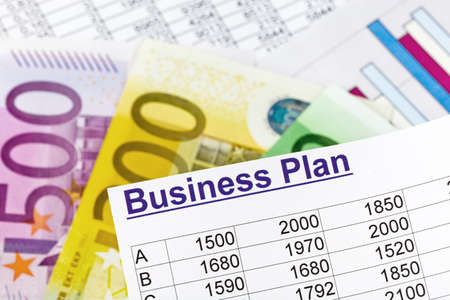 reestablishment: a business plan for starting a business  ideas and strategies for self-employment  euro banknotes  Stock Photo