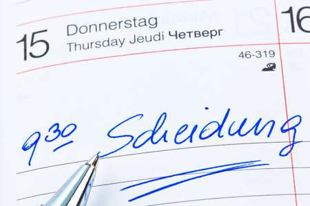 a date is entered on a calendar  divorce