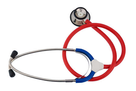 physicans: the stethoscope a doctor lying on a white background