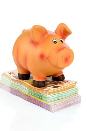 fixed rate: a piggy bank standing on banknotes, symbolic photo for economy, profitability, return on Stock Photo