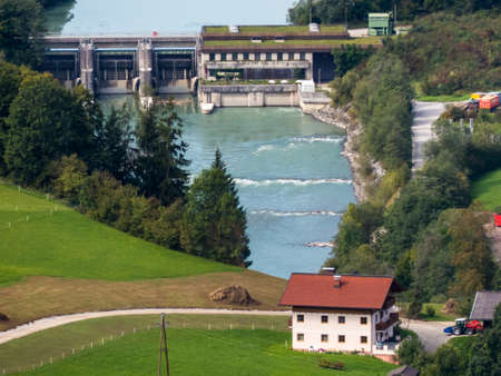 hydroelectricity: a power plant for the production of green electricity by hydropower  hydroelectric power station on the river salzach in salzburg in austria