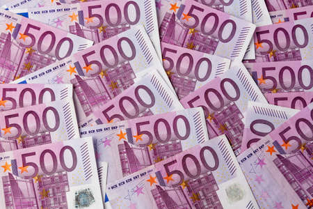 adjacent: many 500 euro banknotes are adjacent  symbolic photo for wealth