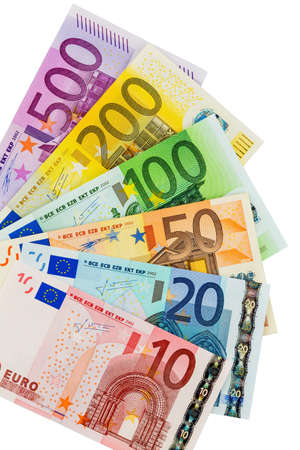 european money: many different euro bills  symbolic photo for wealth and investment Stock Photo