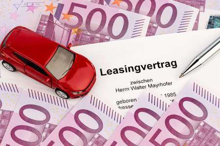 the lease  car leasing  for a new car at the car dealer photo
