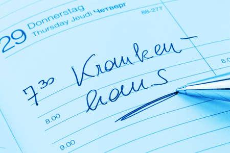 klinik: a date is entered on a calendar  hospital