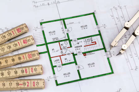 familiy: an architect s blueprint for the construction of a new residential house  symbolic photo for funding and planning of a new house