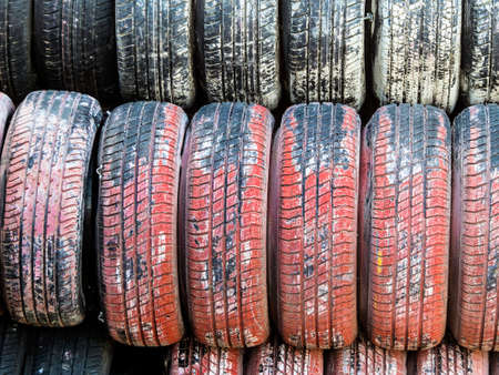 stack of worn car tires, symbol photo for car tires, safety, accident risk