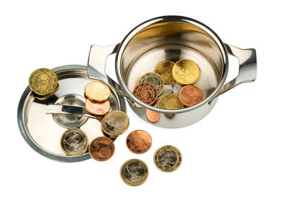 budgetary: a cooking pot with a few euro coins photo icon on debt and financial crisis