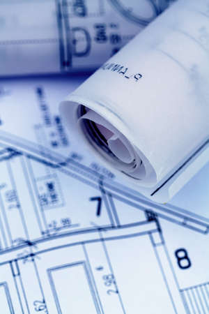 single familiy: an architect s blueprint for the construction eiones new house  symbolic photo for funding and planning of a new house