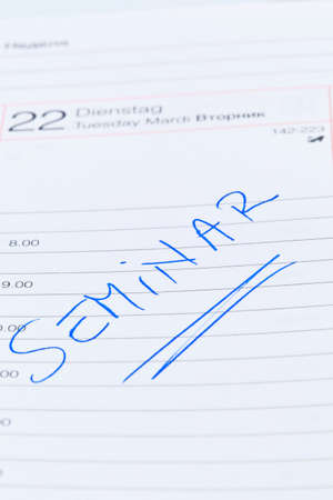 entered: a date is entered on a calendar: seminar Stock Photo