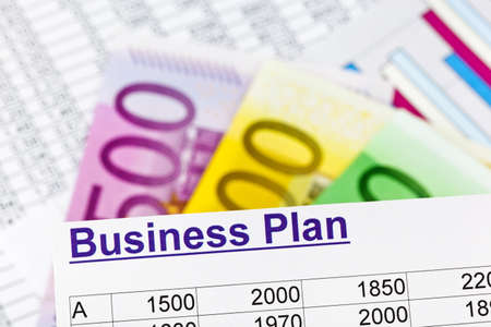 reestablishment: a business plan for starting a business. ideas and strategies for self-employment. euro banknotes.