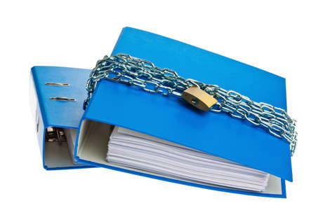 a file folder with chain and padlock closed. privacy and data security. photo