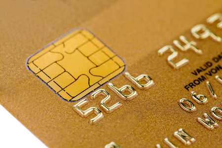 cashless: a gold credit card. symbolic photo for cashless purchases and status symbols. Stock Photo