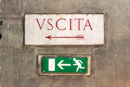 downgrade: the sign uscita in italy indicates an output. Stock Photo