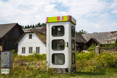 cell phone booth: a phone booth in a small village in lower austria. kautzen in the waldviertel Stock Photo