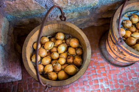 biologically: onions are stored in biologically old wooden buckets