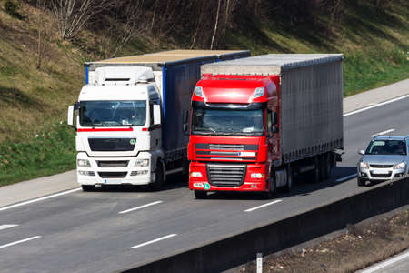 toll: trucks on the highway. road transport for freight.