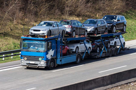 transporter: trucks on the highway. road transport for freight.