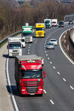 trucks on the highway. road transport for freight. photo