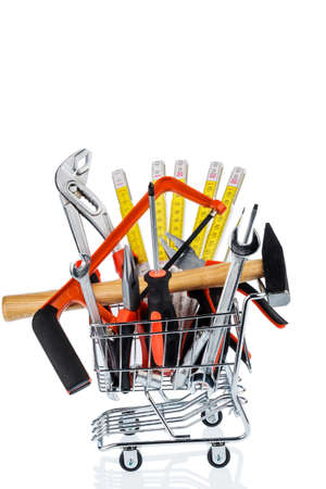 procurement: hand tool in a shopping cart icon photo for crafts, tools and materials procurement Stock Photo