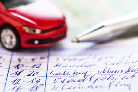 mileage: log book for a car. for commuter tax and revenue office. Stock Photo
