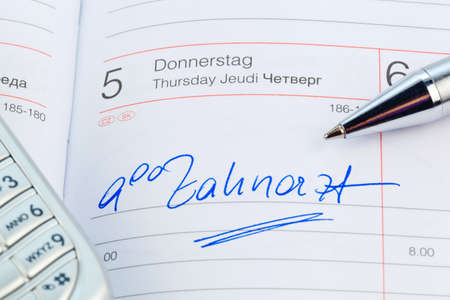 pracitioner: a date is entered on a calendar: dentist