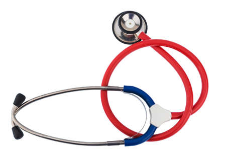 intercept: a physicians stethoscope against white background optional
