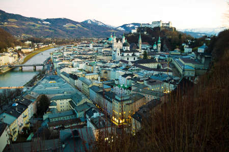 a city view of the city of salzburg in austria .. old town and hohensalzburg fortress photo