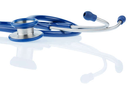 intercept: stethoscope against white background, symbol for professional medical profession and diagnostics