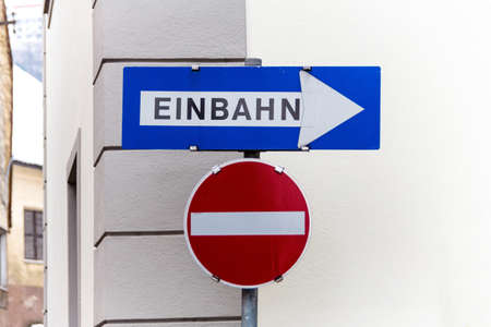 forbade: one-way, two road signs, symbol photo for traffic regulations, direction, clarity Stock Photo