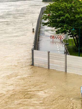 flood of 2013. mauthausen, austria. mobile flood protection embankment. photo