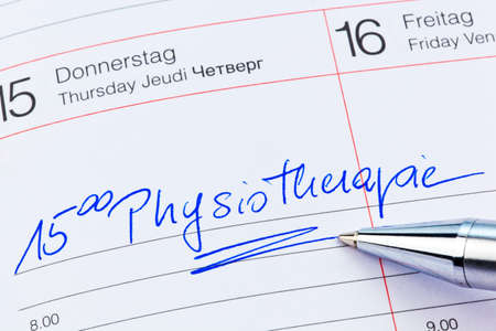 a date is entered on a calendar: physiotherapy